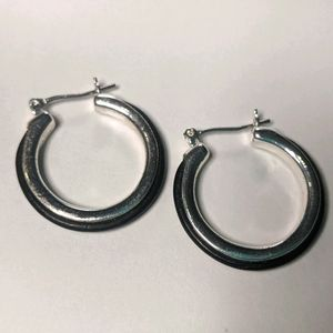 Express Black Leather inlay Hoop Earrings